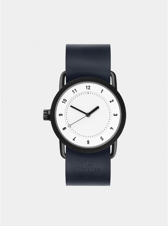 White / Navy Leather No.1 Watch