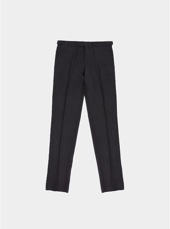 Black Washed Programme Linen Trousers