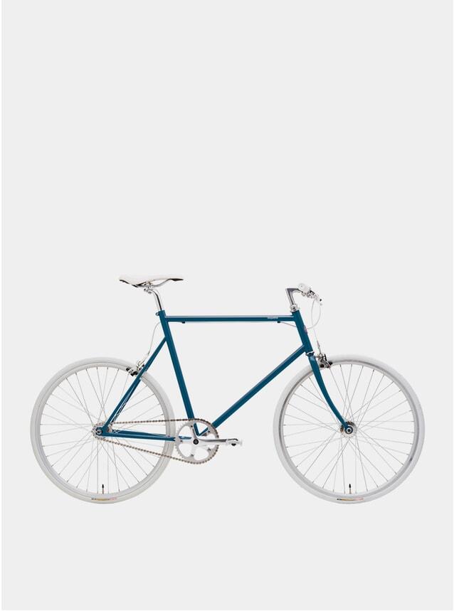 Blue Enamel / White Single Speed Bike