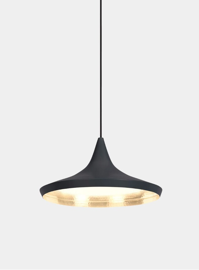 Black Beat Wide Pendant Light