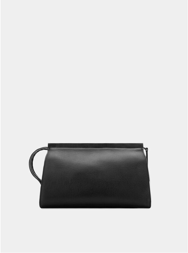 Black Leather Wash Bag