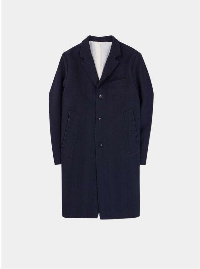 Dark Navy Herringbone Classic Coat