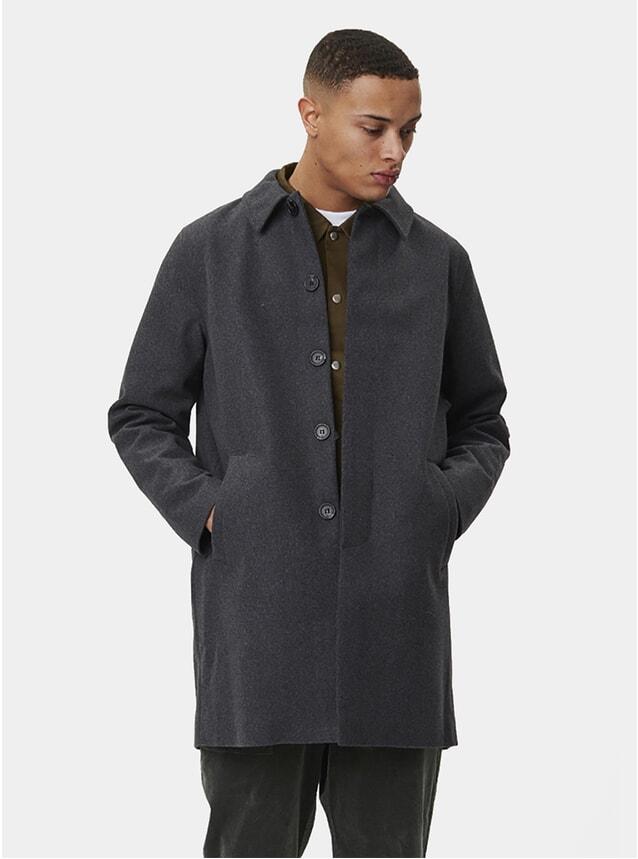 Grey Melange Atlas Wool Coat