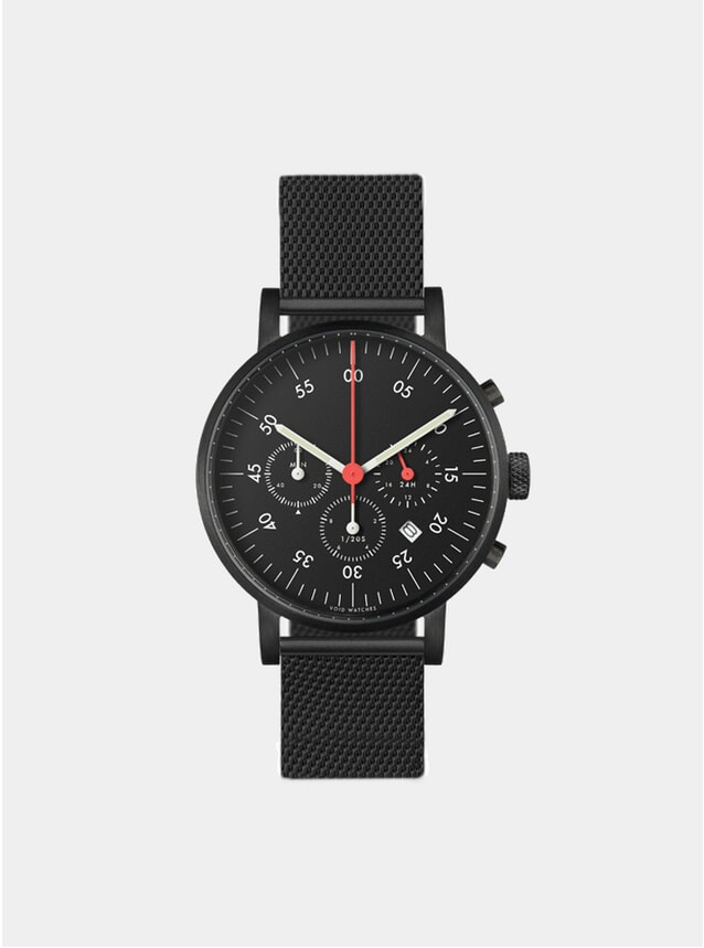 Black VO3C-BL Mesh Chronograph Watch