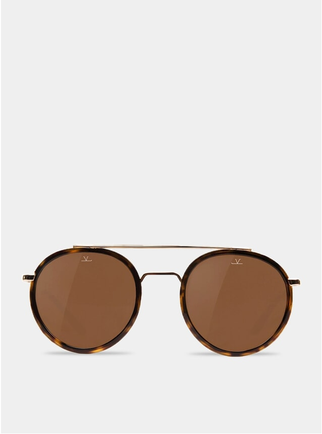 Brown / Tortoise / Gold Edge Round Sunglasses