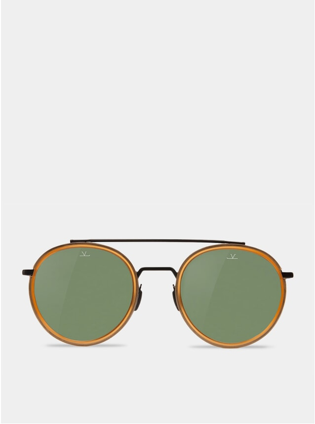 Grey / Amber Edge Round Sunglasses