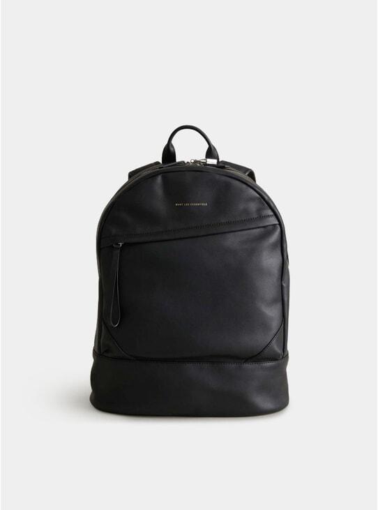 Black Leather O'Hare Kastrup Backpack