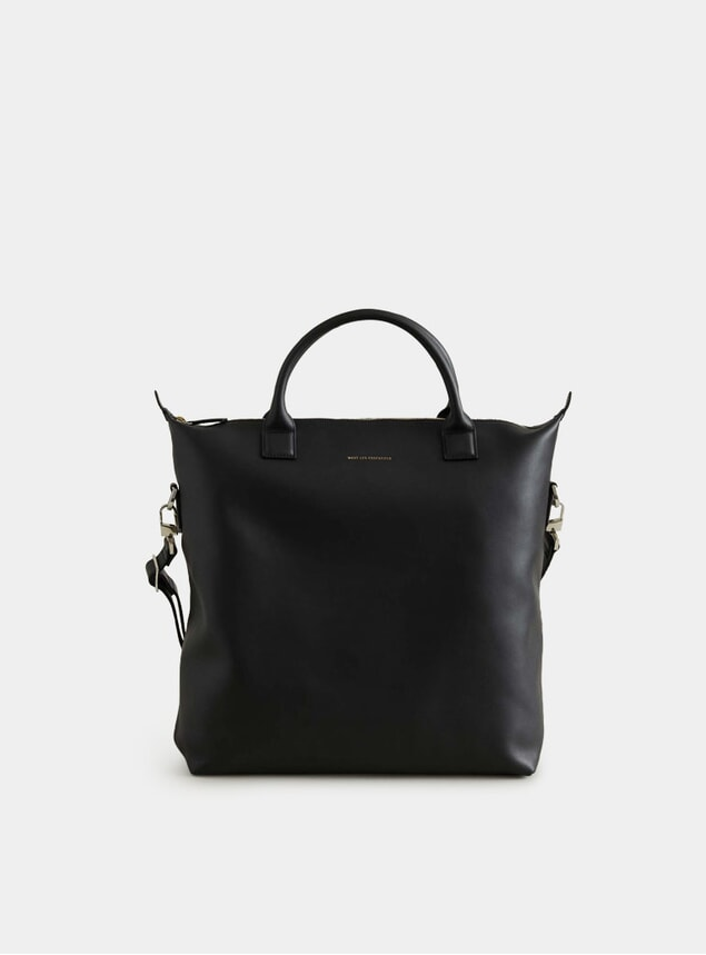 Black O'Hare Leather Shopper Tote Bag