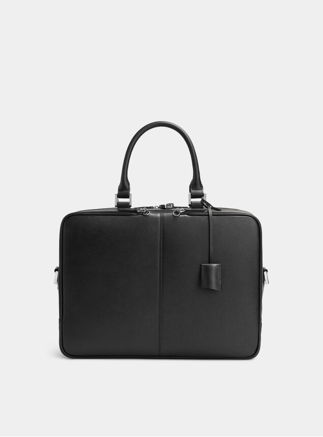 Black Trudeau 17 Caviar Leather Computer Bag