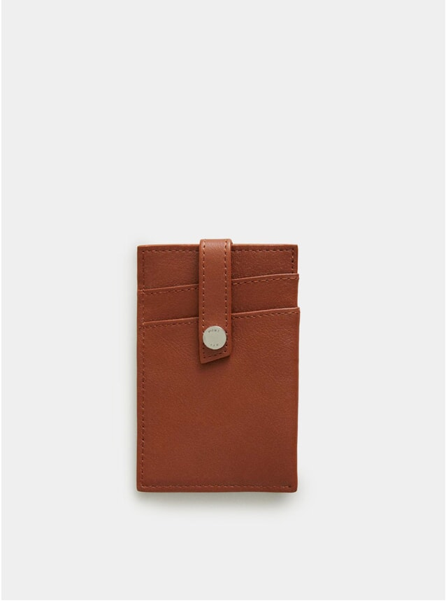 Cognac Kennedy Leather Money Clip Wallet