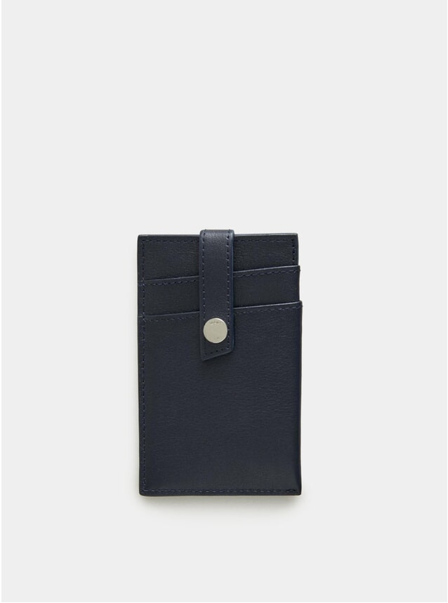 Navy Kennedy Leather Money Clip Wallet