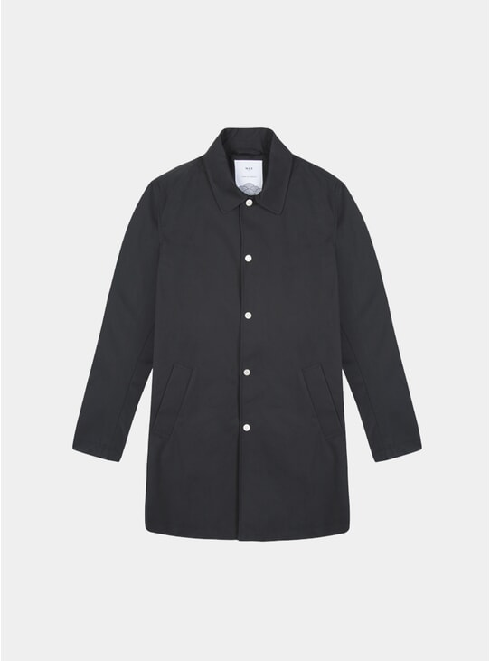 Black Navarino Waxed Mac 2.0 Coat