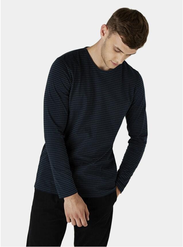 Navy / Green Finham Long Sleeve T Shirt