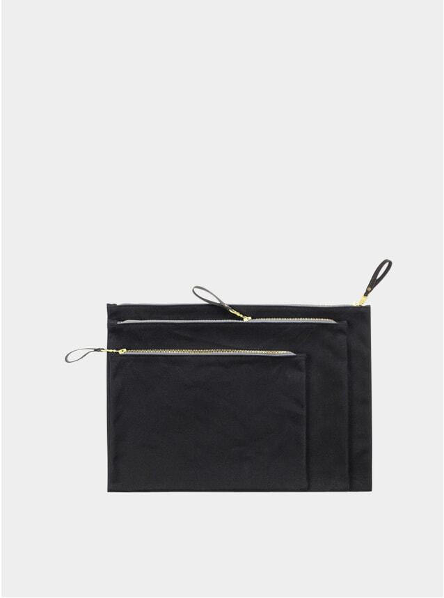Black Waxed Canvas Zip Folio