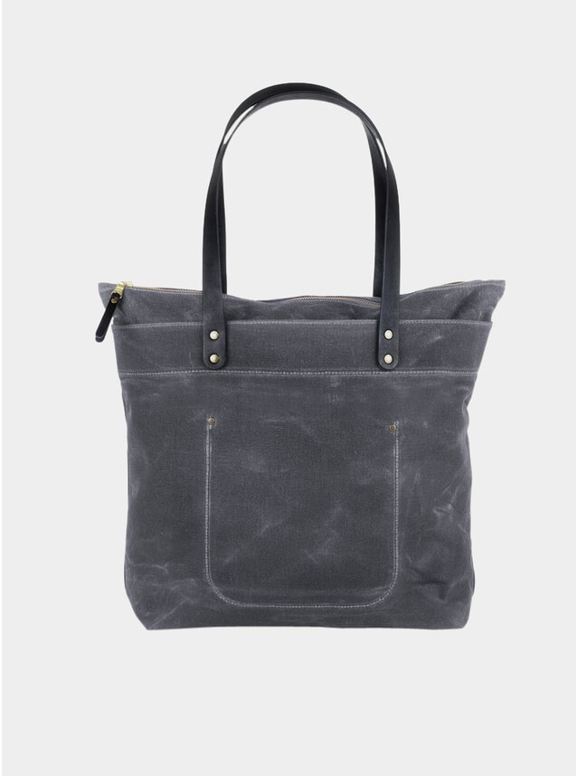 Grey / Black Waxed Canvas Zipper Tote Bag