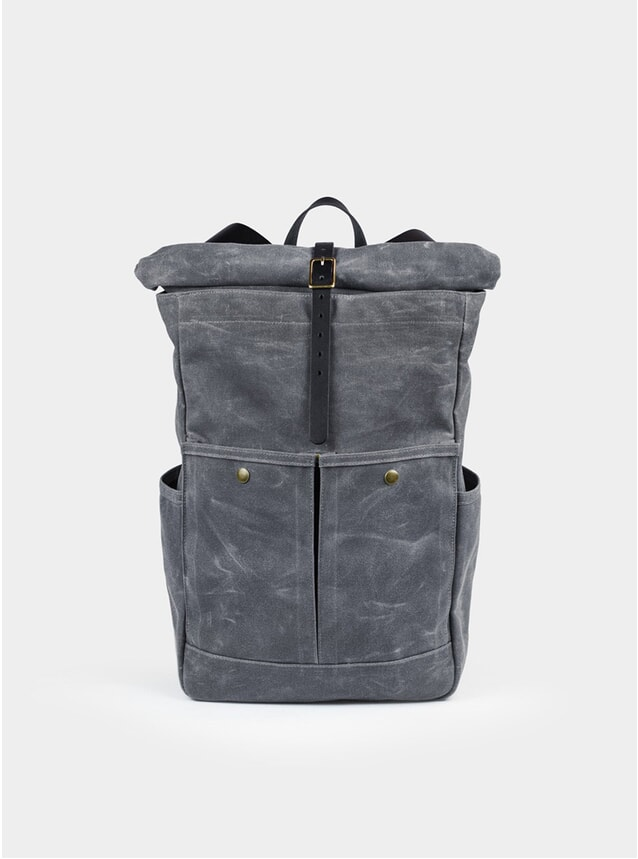 Grey Waxed Canvas Roll Top Backpack