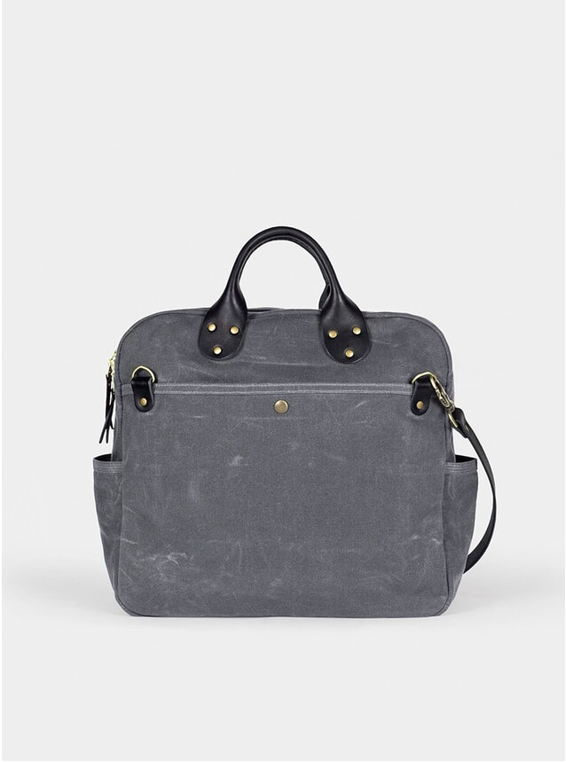 Grey Waxed Canvas Travel Day Bag