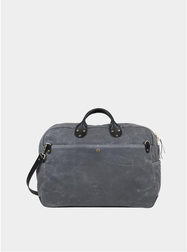 Grey Waxed Canvas Weekender Bag