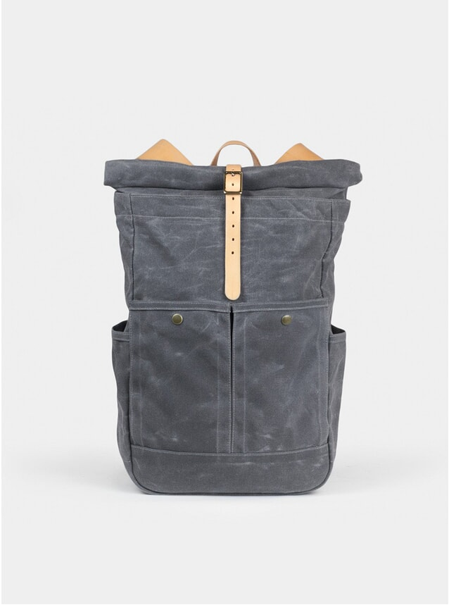 Grey Waxed / Nat Waxed Canvas Roll Top Backpack