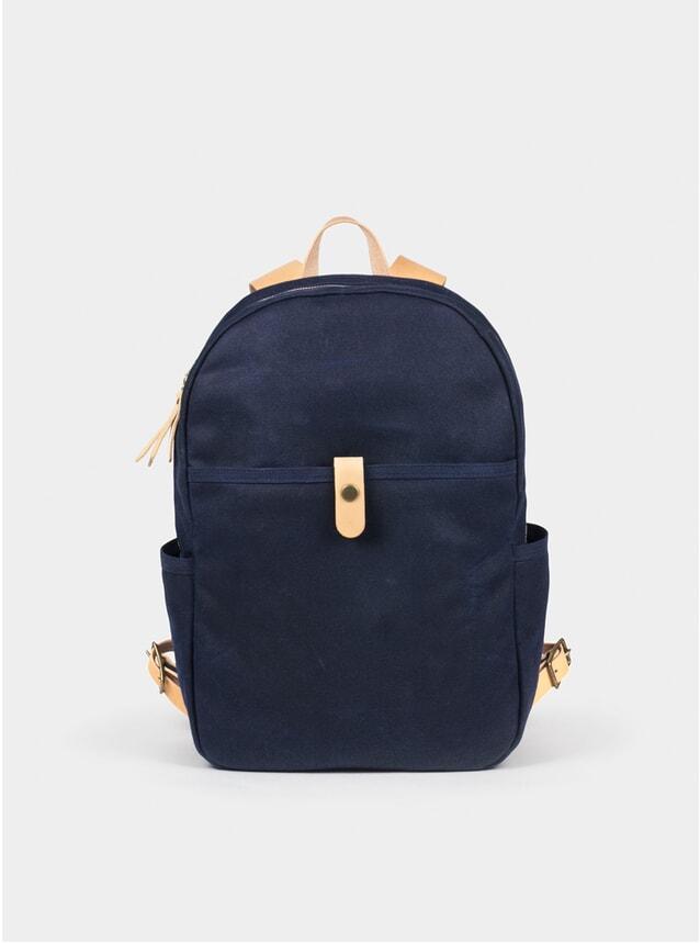 Navy Waxed Canvas Backpack
