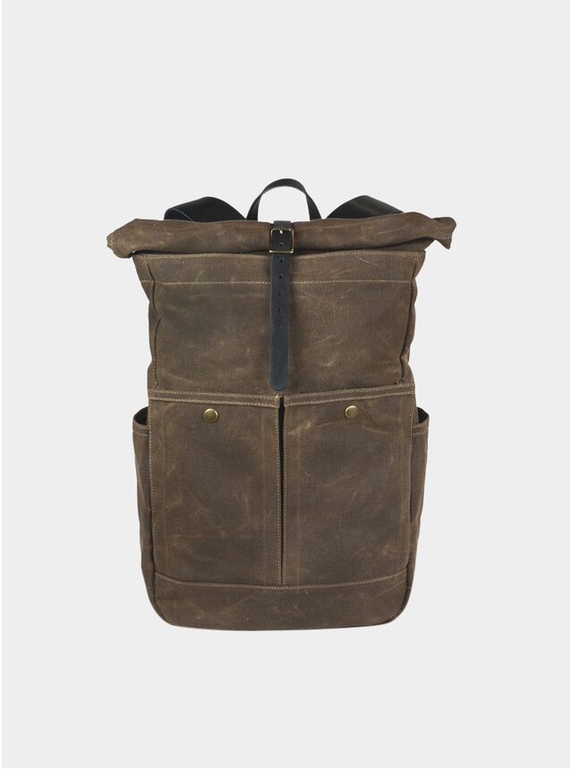 Olive Waxed Canvas Roll Top Backpack