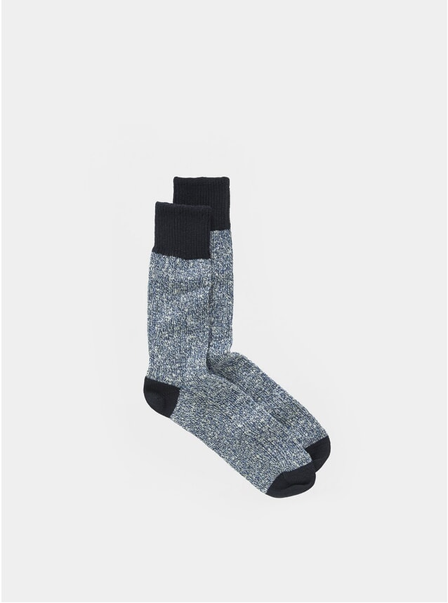 Navy Twisted Slub Socks