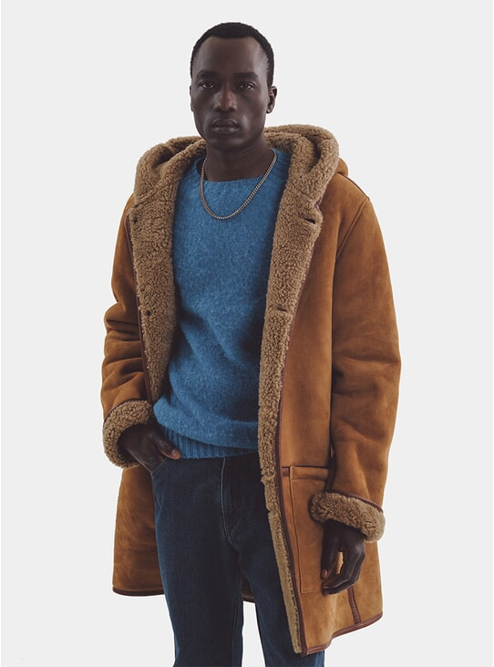 Tan Beat Generation Suede Duffle Coat