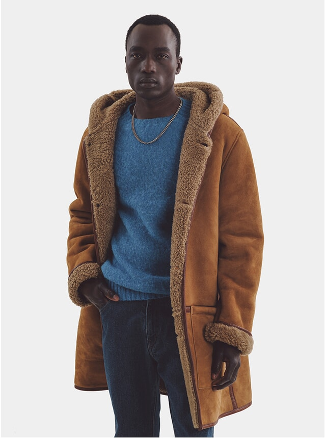 Tan Beat Generation Suede Duffle Coat