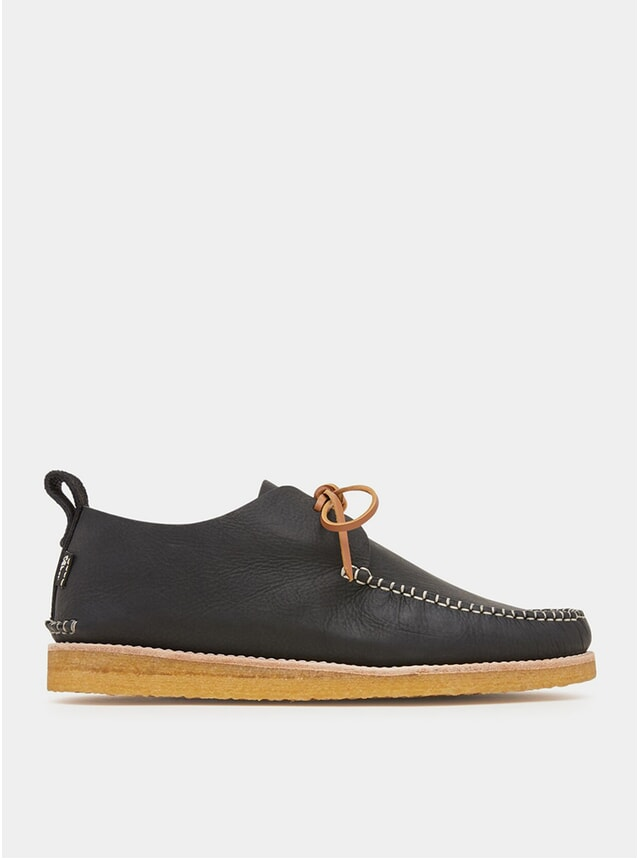 Black Lawson Tumbled Leather Moccasins