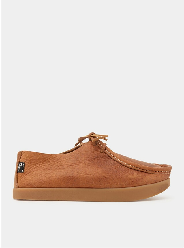 Mid Brown Willard Tumbled Leather Negative Heel Shoes