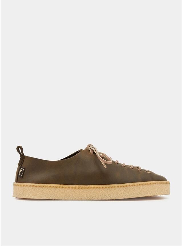 Olive Rufus Crepe Leather Shoes