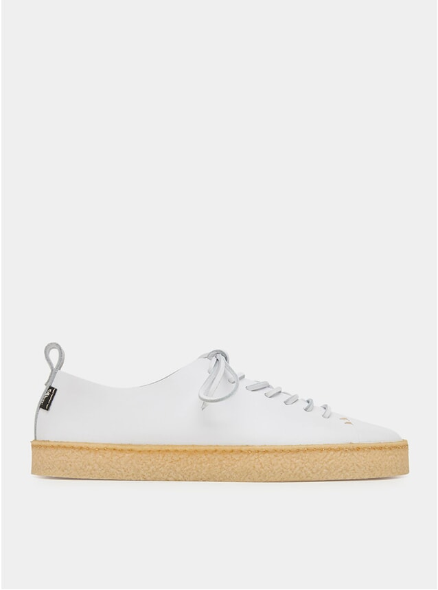 White Leather Crepe Leather Shoes
