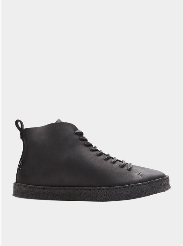 Black Leather Crepe Winstone Sneakers