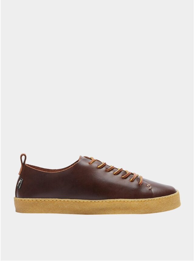 Brown Leather Rufus Crepe Sneakers