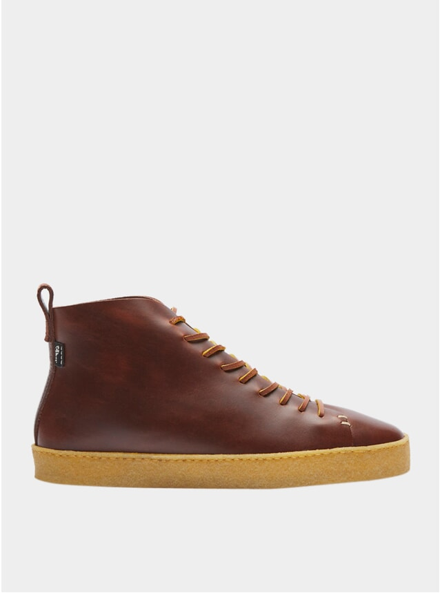 Brown Leather Winstone Crepe Sneakers