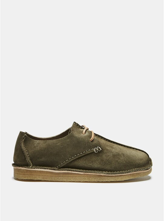 Olive Centre Seam Suede Lace-Up