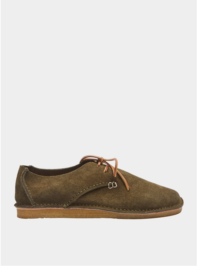 Olive Suede Caden Lace-up Shoes