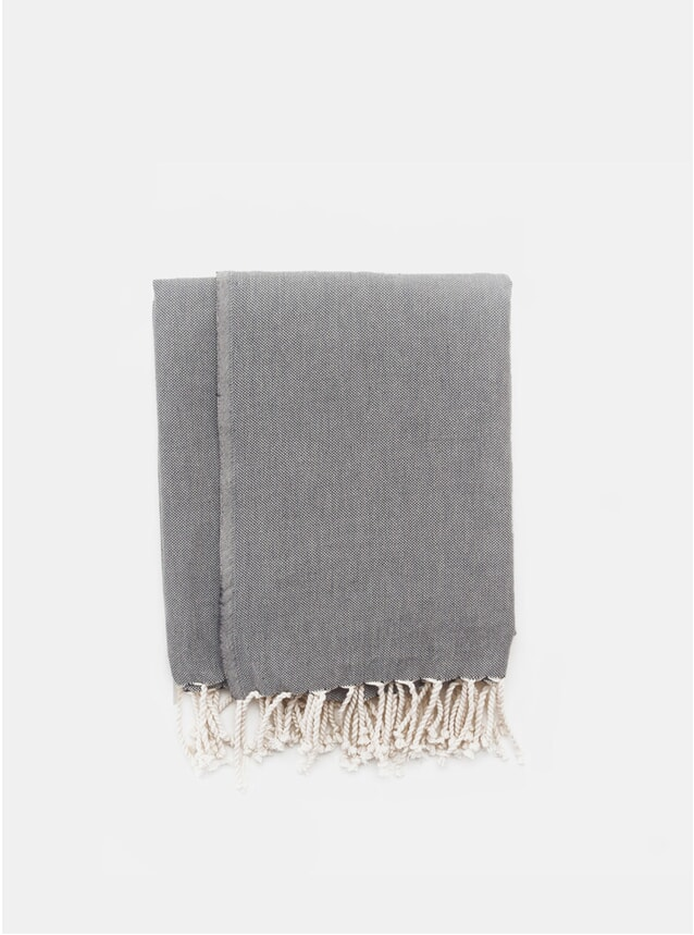Black Melange Wool Throw