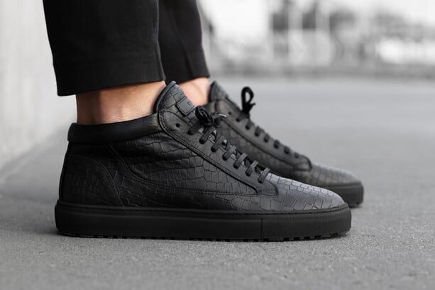 ETQ Amsterdam Black Croc Mid Sneakers