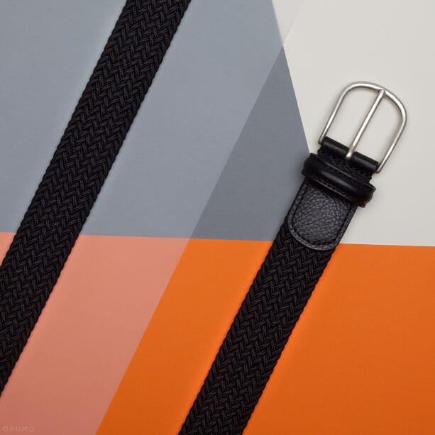 Opumo-ANDERSONS-BELTS-Black-Elasticated-Woven-Belt