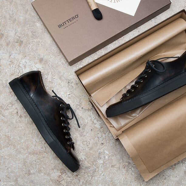 BUTTERO-Distressed-Brown-Leather-Tanino-Low-Profile-Sneakers-Content