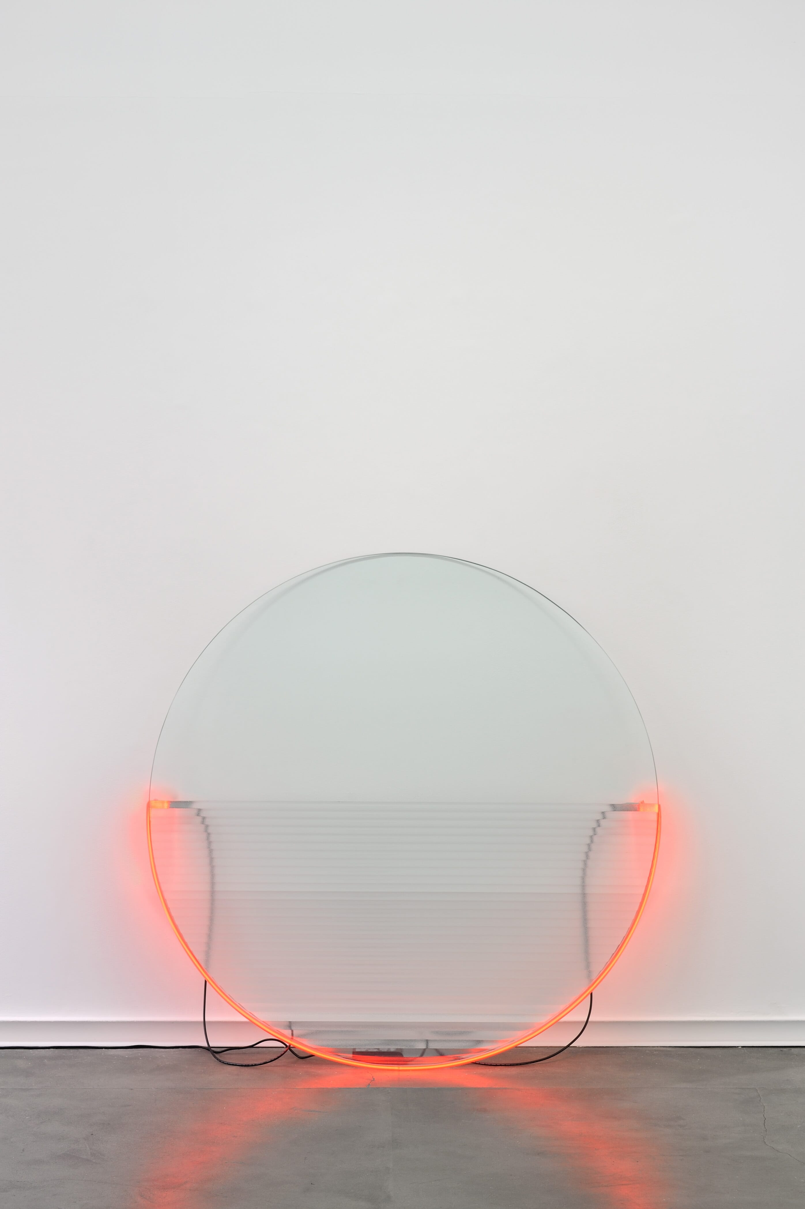 Keith-Sonnier.-Lit-Circle-Red-with-Flutex,-1968