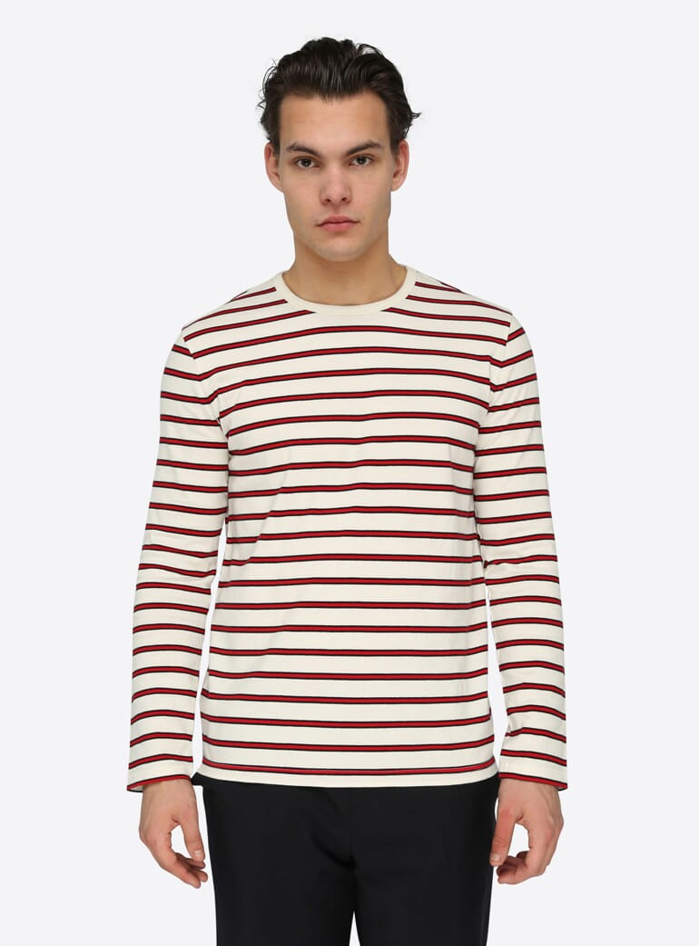 Harmony Ecru Long Sleeve Tom Striped T-shirt
