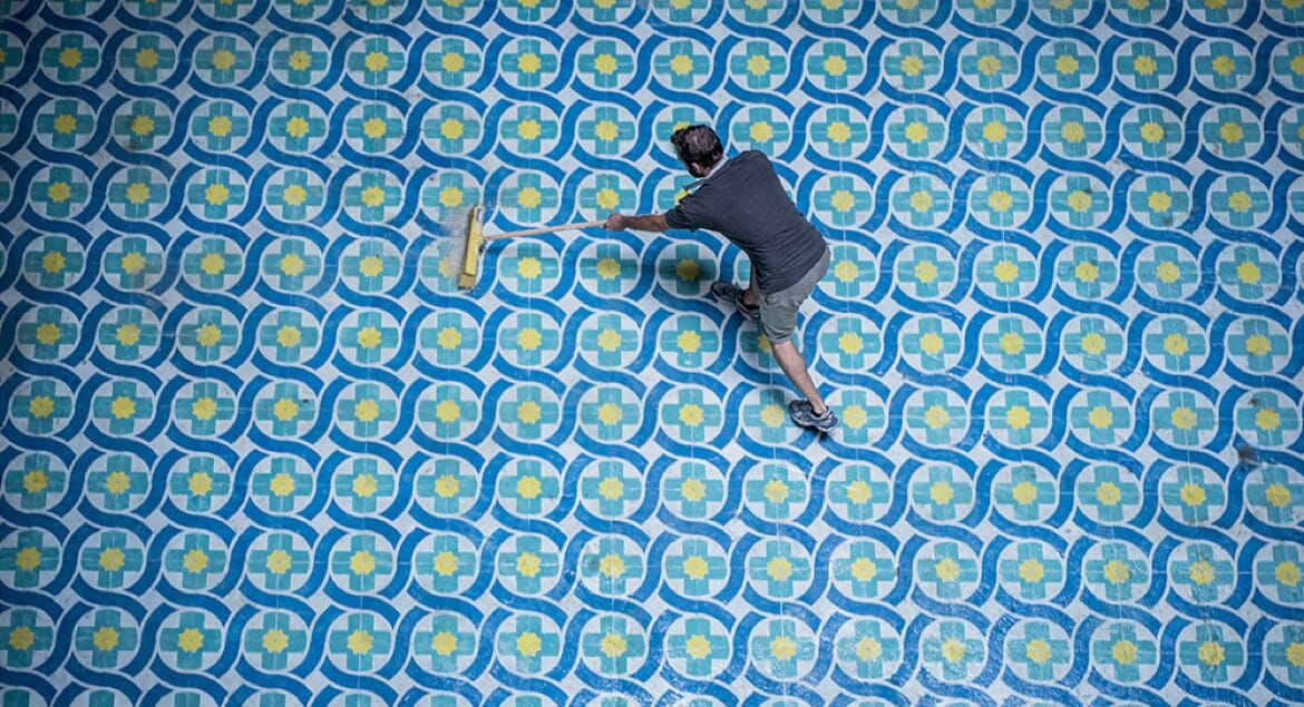 Javier de Riba Transforms Abandoned Buildings with Painted Floors