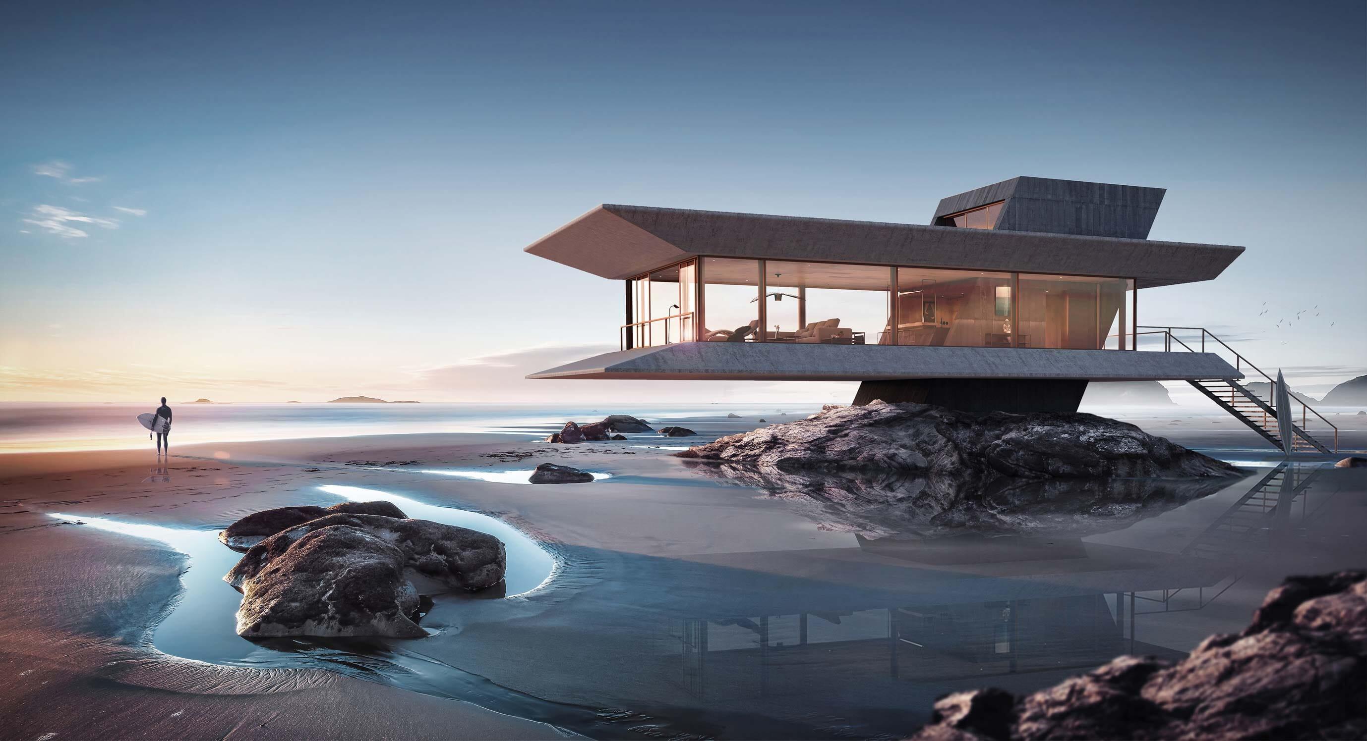 Monolit Beach House Is a Futuristic Coastal Getaway