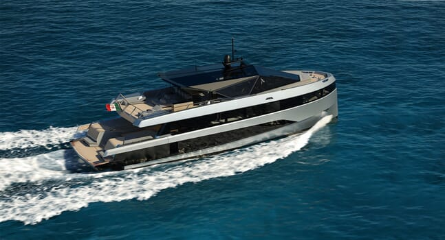 The super-villain style of the Why200 from Wally Yachts